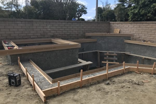 Partial construction of a remodeled pool